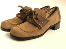 Vintage StoryBook Girls Size 1.5 D Lace Up Low Heel Brown Leather Oxfords Shoes