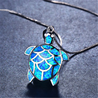 Women 925 Silver Mini Cute Turtle Blue Fire Opal Charm Pendant Necklace Jewelry