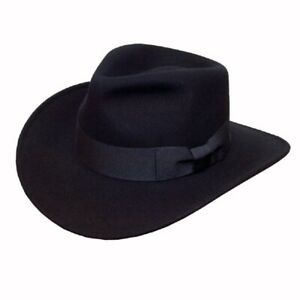 Black Fedora Hat Wool Felt Trilby With Ribbon Band Wide Brim Classic Sun Hat