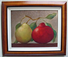 gorgeous texture!  APPLE & PEAR painting LAGUNA BEACH artist  gallery price $900