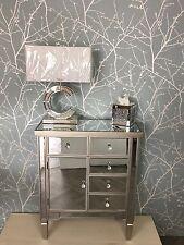 Georgia Champagne Trim Mirror 5 Drawer 1 Door Cupboard Cabinet Sideboard Chest