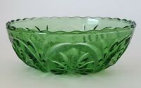 Vintage Green Pressed Glass Bowl Candy Dish Snack Nut Fruit Scalloped Rim