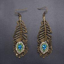 Vintage Women Rhinestone Peacock Eye Feather Dangle Hook Earrings Jewelry Gift