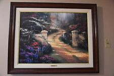 Framed Thomas Kinkade- RARE!! SPRING GATE/CANVAS/MINT WITH COA LARGE 34X25.5