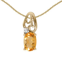 """10k Yellow Gold Oval Citrine And Diamond Pendant with 18"""" Chain"""