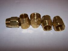 "PARKER  61CL-10 COMPRESSION BRASS LONG NUT 5/8"" TUBE 13/16"" THRD NEW LOT OF 5"