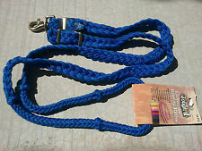 TOUGH-1 BLUE BRAIDED KNOTTED BARREL RACING ROPING REINS WESTERN 7 FEET