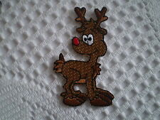 EMBROIDERY IRON ON CHRISTMAS RUDOLPH THE RED NOSE REINDEER MOTIF PATCH SEW CRAFT