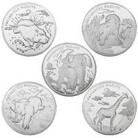 WR Congo 2017 10 Francs Elephant Giraffe Rhinoceros Hippo Lion Silver Coin Set 5