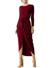Elegant Solid Long Sleeve Dresses - Wine Red Size Small