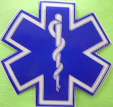"""STAR OF LIFE 4"""" WHITE & BLUE REFLECTIVE DECAL STICKER"""