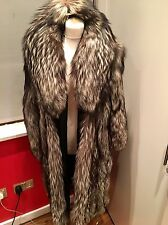 Ladies Real Fur Silver Fox Luxury Stunning Coat Size12/14