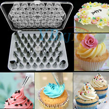 52pcs Stainless Steel Icing Piping Nozzle Tips Sugarcraft Pastry Puff Cake Decor