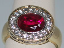 10k Gold ring with a Ruby(July birthstone) and CZ Diamonds