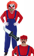 Mens Killer Clown Zombie Mario 80s 90s Halloween Fancy Dress Costume Outfit