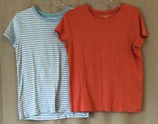 2 Lands' End Shaped T Shirts, Women Size Large, Orange Solid, Blue White Stripe