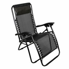 Zero Gravity Chair Case Of (1) Black Lounge Patio Chairs Outdoor Yard Beach Pool