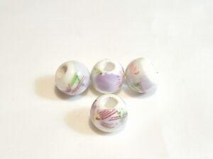 10 pcs x Flat Round Porcelain Beads : Porc111 Abstract