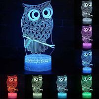 Owl Print 3D Lighting Lamp LED Night Light 7 Colors Touch Table Room Decor Gifts