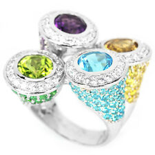 BIG REAL MULTI COLOR AMETHYST PERIDOT CITRINE TOPAZ CZ STERLING 925SILVER RING 8
