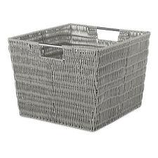 Light Grey Plastic Wicker Basket Rattan Crate Organizer Bedroom Tote Storage New