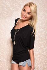 SEXY Shirt Kurzarm Top Fledermaus Shirt T-Shirt Schwarz Oversize Größe 34