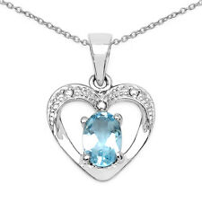Sterling Silver Heart Pendant with 7 X 5 MM Oval Blue Topaz Gemstone