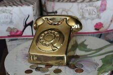 Ceramic Telephone Bank  Gold Color by Three Hands corp. Item No.67232.