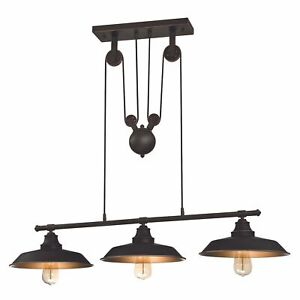 Vintage Industrial Island Pulley Pendant Iron Hill Oil Rubbed Bronze 3 Lights