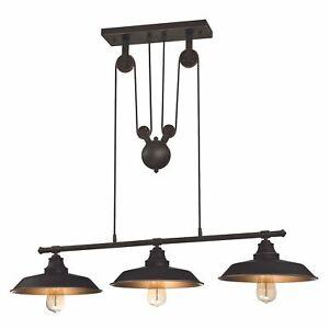 Inselleuchte Deckenlampe Pendelleuchte Seilzug Iron Hill Bronze 3 Lampen E27