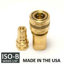 "1 Set 1/8"" ISO-B Hydraulic Hose Quick Disconnect Couplers Brass - (ISO 7241-1 B)"
