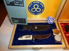 GILL HIBBEN ALASKA TRUE SCRIMSHAW CUSTOM KNIFE SET, 1974 75