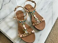 Dune Leather Flat Jewelled Sandals Size 4UK Nude Ankle Strap V Good Condition