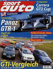 sport auto 2/99 1999 Panoz GTR-1 Porsche 911 GT3 Cup Golf GTI Peugeot 306 S16