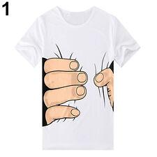 Men's 3D Big Hand Bone Print Short Sleeve T-shirt Tee Summer Fashion Top Sanwood