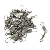 Grey Fishing Line to Hook Clip Connector Swivels 20PCS AD