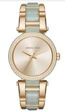Michael Kors MK4317 Delray Ladies Crystal Aqua Acetate Bracelet Watch $275 NEW