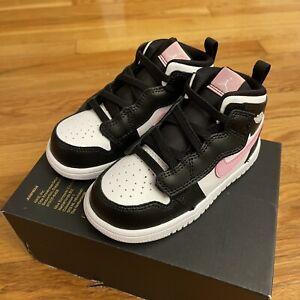 🔥Nike Jordan 1 Mid ALT TD Light Arctic Pink Black White (TD) Size 8C AT4613 103