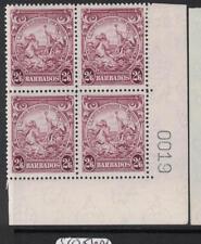 Barbados SG 256 Sheet Number Block of Four, Three Stamps MNH (10dsa)