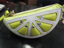 NWT Kate Spade Breath of Fresh Air Lemon Lime Coin Purse Keychain Ring Leather