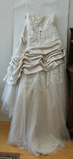 DAVID's BRIDAL Vtg Looking Champagne Beaded Lace Strapless Wedding Gown 20W NWT