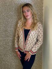 Womens beige cc designer inspired knit cardigan