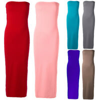 Women Ladies Sleeveless Tube Tops Stretch Bodycon Ribbed Pencil Midi Dress
