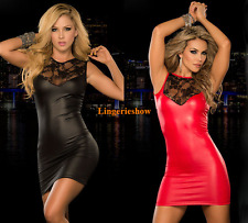 Plus Size Sexy Women's Lingerie Wet Look PVC Leather Party Clubwear Fancy Dress