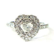 Clearance 1.00Ct Heart Shape Diamond Double Halo Set Platinum Ring