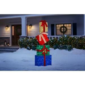 Outdoor Holiday Gift Boxes Stack Christmas Sculpture Yard Decoration LED Lights