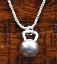 925 Solid Sterling Silver Chain with Kettlebell Pendant Bodybuilding Muscle Gym