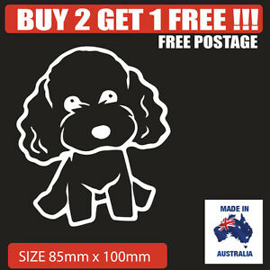 Cute Poodle car sticker decal in WHITE
