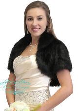 Black Faux Fur Bridal Bolero Jacket-Black