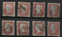 SG 8/8a. Selection Of Imperf.1d.'Reds'-All With 4 Margins.FU.Cat.£240+. Ref:0/29